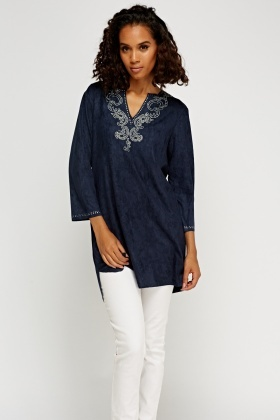 Encrusted Suedette Tunic