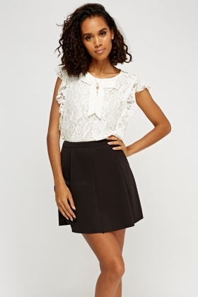 Lace Overlay Frilled Top
