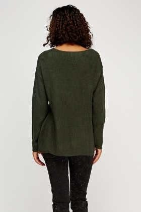 Ribbed V-Neck Knitted Jumper