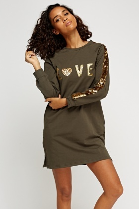 Sequin Embellished Trim Jumper Dress