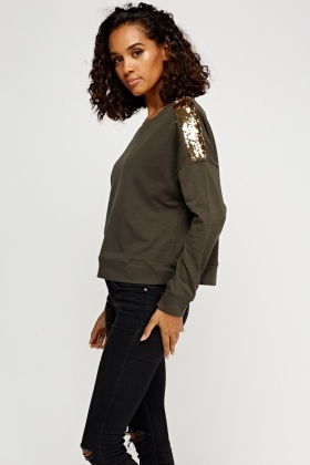 Sequin Shoulder Casual Jumper