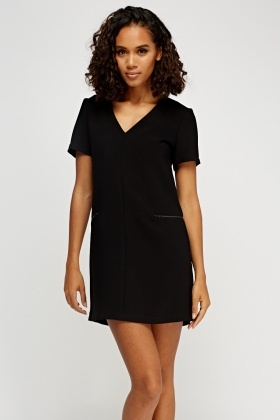 V-Neck Textured Mini Dress