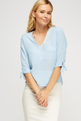 Embellished V-Neck Casual Top