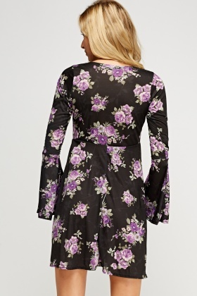 Flare Sleeve Floral Dress