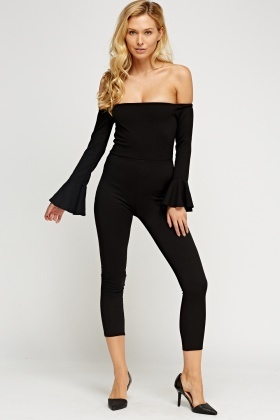 Flared Sleeve Off Shoulder Jumpsuit