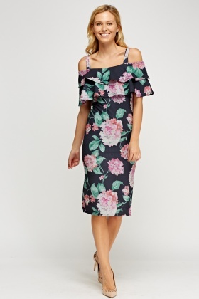 Floral Cold Shoulder Frilled Dress