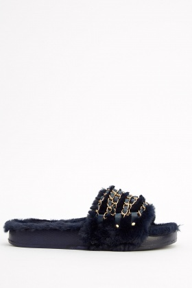 Chain Embellished Faux Fur Sliders