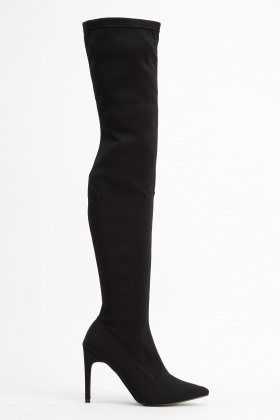 Elasticated Over Knee Heeled Boots