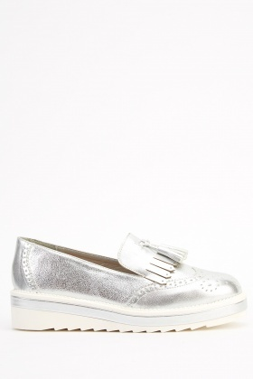 Faux Leather Brogue Slip On Shoes