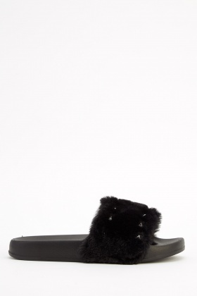 Insert Spike Studded Faux Fur Slider