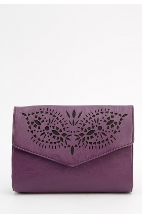 Laser Cut Faux Leather Crossbody Bag