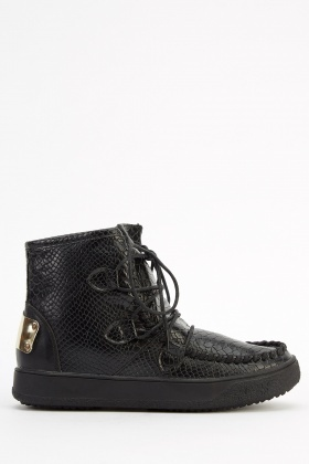 Mock Croc Faux Leather Boots