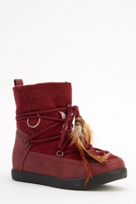 Tie Up Ankle Embroidered Ankle Boots