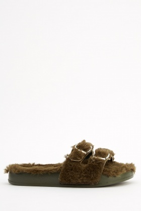 Twin Strap Faux Fur Sliders