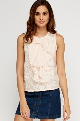 Frilled Front Lace Overlay Top