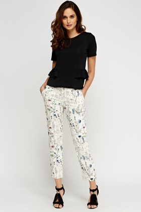 Mix Print Casual Trousers
