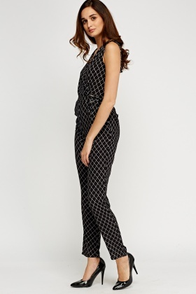 Mono Print Wrapped Jumpsuit