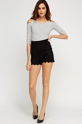Scallop Trim High Waist Shorts