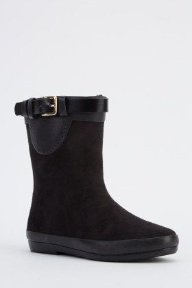 Buckle Detail Suedette Welly Boots