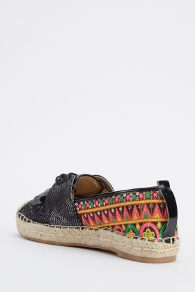 Lace Up Contrast Espadrilles Shoes