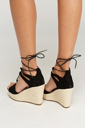 Lace Up Espadrilles Wedge Sandals