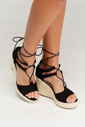 10901717737f Lace Up Espadrilles Wedge Sandals - Just £5