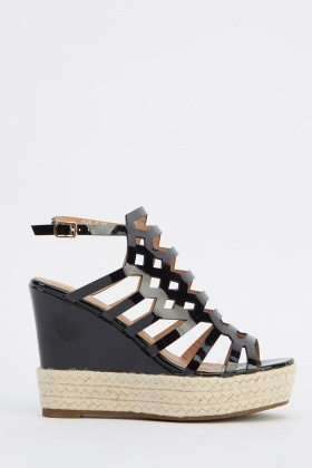 Laser Cut Contrast Wedge Sandals