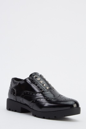 Laser Cut Studded Brogue Shoes