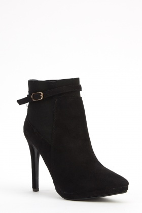 Suedette Contrast Court Ankle Boots