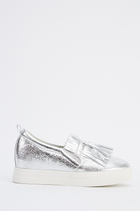 Tassel Front Metallic Plimsolls Shoes