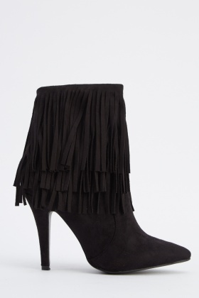 Tassel Suedette Court Ankle Boots