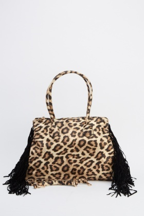 Tasseled Side Leopard Print Handbag
