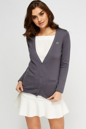Lacoste Grey Button Up Cardigan