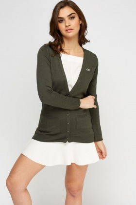 Lacoste Khaki Button Up Cardigan