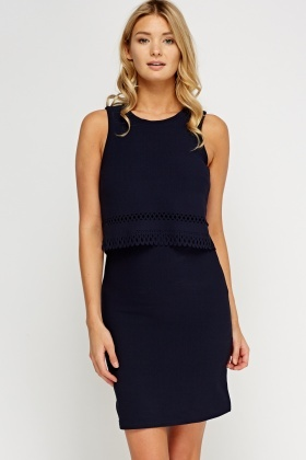 Laser Cut Trim Textured Dress