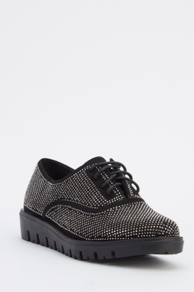 Encrusted Lace Up Shoes