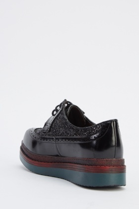 Glittery Lace Up Brogues Shoes