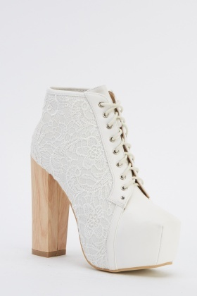 Lace Overlay White Heeled Boots