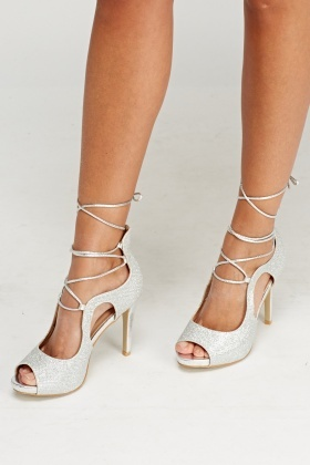 Lurex Peep Toe Lace Up Heels
