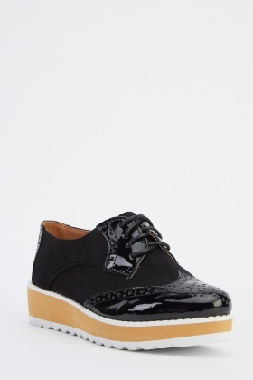 PVC Contrast Brogue Shoes