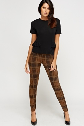 Checked Elasticated Leggings