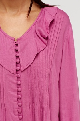 Pleated Front Purple Blouse