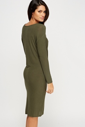 Twist Front Ribbed Dress
