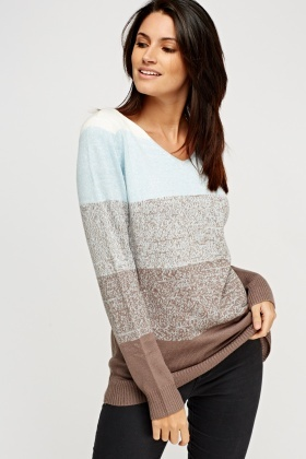 V-Neck Colour Block Jumper