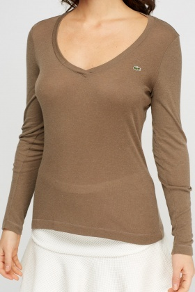 Lacoste V-Neck Long Sleeve Top