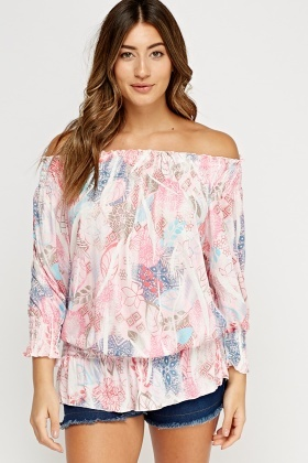 Printed Elasticated Off Shoulder Top