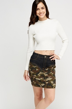 Camouflage Print Contrast Denim Skirt