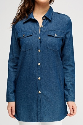 Denim Longline Shirt