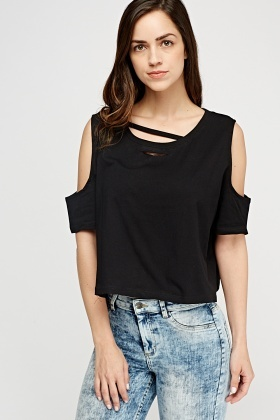Distressed Front Cut Out Shoulder Top