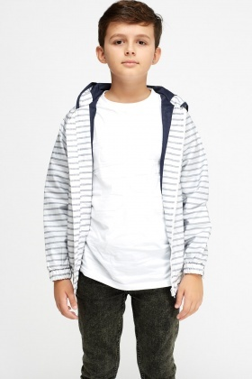 Stripe Hooded Waterproof Jacket
